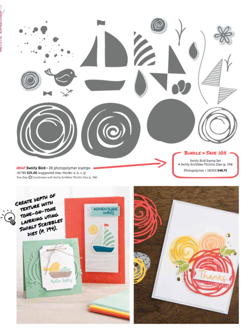 Stampin' Up! Swirly Bird and Swirly Scribbles Bundle