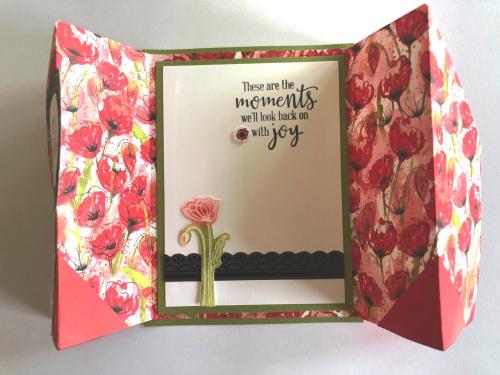 Gated poppy card open